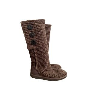 UGG Classic Cardy Brown Gold Knit Tall Boots